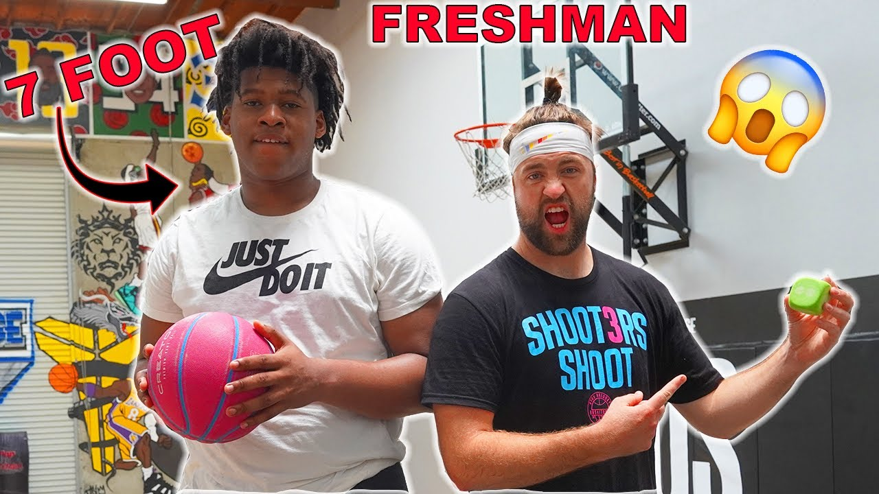 "TRICK SHOT BATTLE w/ 7'0"" FRESHMAN Jahzare Jackson (Loser gets a pie to the face!!)"