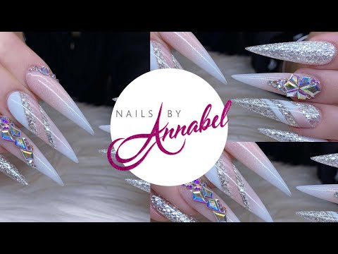 French Ombré || Colour Blocking | Ice Christmas Acrylic Nails Design using all Glitterbels