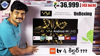VU (43 inch) 4k android TV Unboxing & initial i...