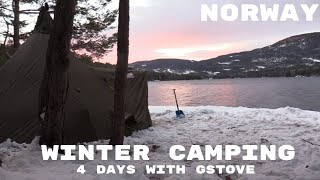 4 days of winter camping in a hot tent with Gstove in norway