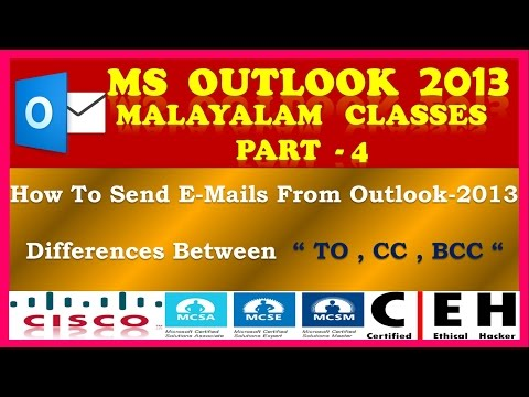 "MICROSOFT OUTLOOK 2013 MALAYALAM - PART 4 - How To Send E-Mails & Differences Between "" To CC BCC """