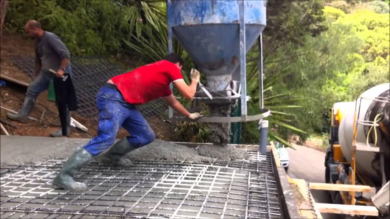 Hormigonado de forjado de losa maciza y escalera youtube - Losas de hormigon para jardines ...