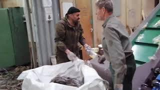 Испытания линии российскго производства для переработки отходов ПЭТ бутылки во флекс / Видео