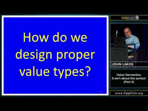"CppCon 2015: John Lakos ""Value Semantics: It ain't about the syntax!, Part II"""