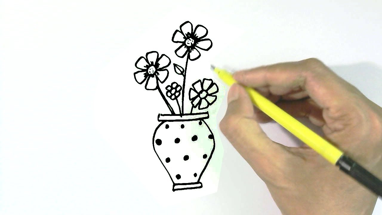 How To Draw A Vase Or Flowerpot In Easy Steps For Children Kids