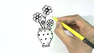 How to draw a vase or flowerpot  in  easy steps for children, kids, beginners
