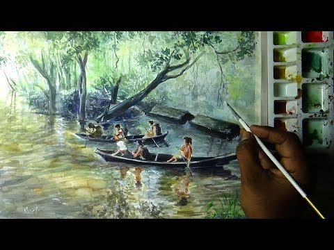 The Children Boating in the River. Painting with watercolors | River Landscape painting |