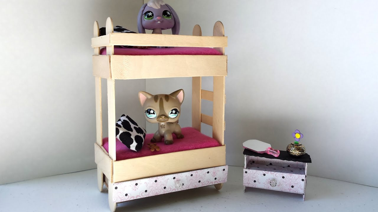 How to make a tiny bunk bed with drawer for lps littlest for Pet bunk bed gallery
