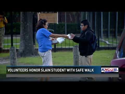Volunteers honor slain student with safe walk