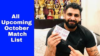 New List Upcoming Match October Month By Arsh Chohla 3-10-2020