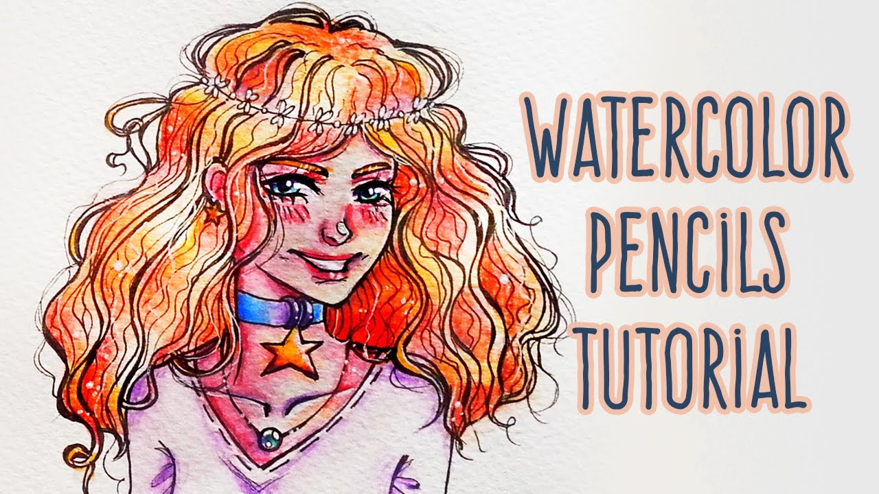 How To Use WATERCOLOR PENCILS: Draw Curly Hair Anime Girl