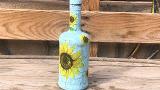 DIY: How to make sunflower whiskey bottle TUTORIAL
