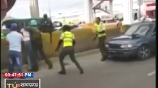 Video capta enfrentamiento entre chofer y agentes de AMET