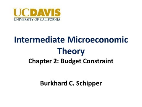 microeconomics budget constraints Now, rather than getting mysterious income i, the income the consumer gets comes from their endowment ▫ or, equivalently 0 ▫ is the net demand for good i ▫ budget constraint says that the cost of net demand has to be less than zero 8 updating the consumer's problem ▫ what happens to the budget.