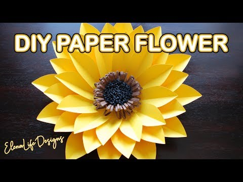 PAPER SUNFLOWER TUTORIAL - HOW TO MAKE A BIG SUNFLOWER TUTORIAL! DIY EASY PAPER FLOWER TUTORIAL