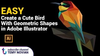Create a cute bird with geometric shapes in adobe illustrator