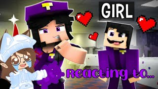 Reacting to purple guy vs purple girl NOT MY VIDEO! @ZAMination Please sub to them FT MY VOICE!!??