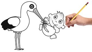 How to Draw a Stork with Baby