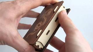 Business Card Holder Laser Cut Plywood With Engrave Dragon