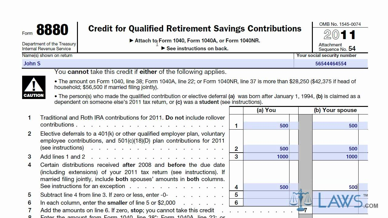 Learn How to Fill the Form 8880 Credit for Qualified Retirement ...