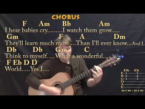 What A Wonderful World (Louis Armstrong) Strum Guitar Cover Lesson in F with Chords/Lyrics - Munson