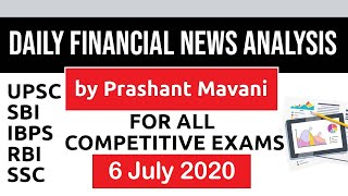 Daily Financial News Analysis in Hindi - 6 July 2020 - Financial Current Affairs for All Exams