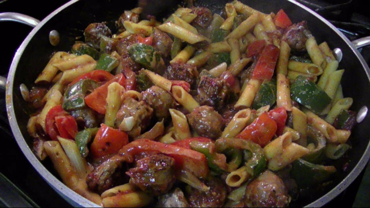 Sausage and peppers penne pasta recipe
