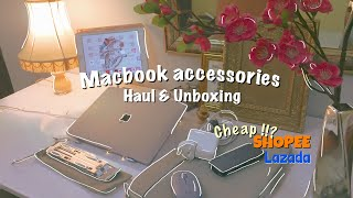 MacBook Accessories Haul | SHOPEE LAZADA Unboxing/mini-review (Macbook Case,  stand, Pebble Mouse..)