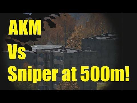DayZ SA, AKM Vs Sniper at 500 metres!