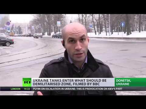 BBC reporter films Kiev tanks in residential area on E  Ukraine frontline