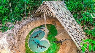 Build the most Amazing Secret Crocodile Pond Underground in Deep Jungle By Ancient Skills