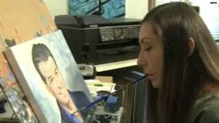 Paralyzed painter, Pierce Brosnan bond over art