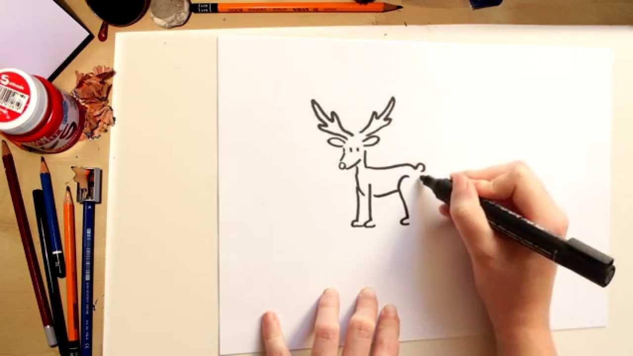 C mo dibujar un reno kawai dibujos de navidad para ni os youtube - Dibujo de navidad para ninos ...