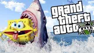 SPONGEBOB GETS ATTACKED BY A SHARK MOD (GTA 5 PC Mods Gameplay)