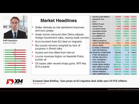 Forex News: 29/06/2018 - Euro jumps on EU migration deal; dollar eyes US PCE inflation