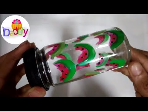 best out of waste glass bottle craft idea, glass bottle painting designs, techniques, tutorial