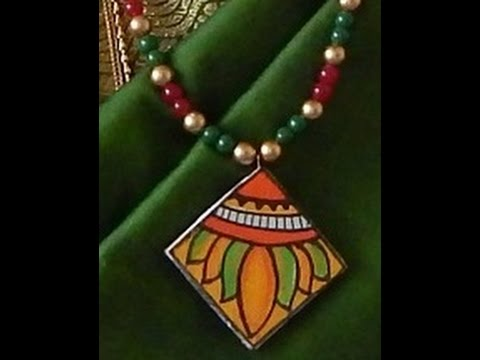Fashion jewellery making kerala mural painting pendent for Mural jewellery