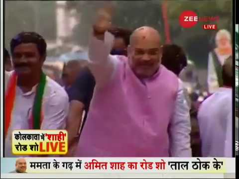 Amit Shah holds a roadshow in Kolkata, West Bengal