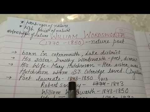 WILLIAM WORDSWORTH English literature notes