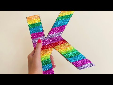 Easy craft to do with KIDS (DIY) Glitter Wall Letter | RAINBOW