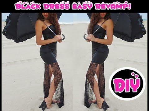2e1bddfca4d DIY Black Lace Bottom Gown--Revamp Old Dresses-BEGINNER LEVEL - YouTube