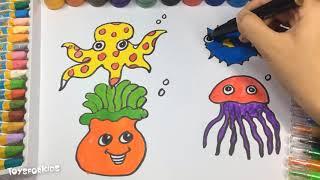 Toddler Изучение видео для детей Обучение цветам детей Как рисовать и окрашивать морских животных