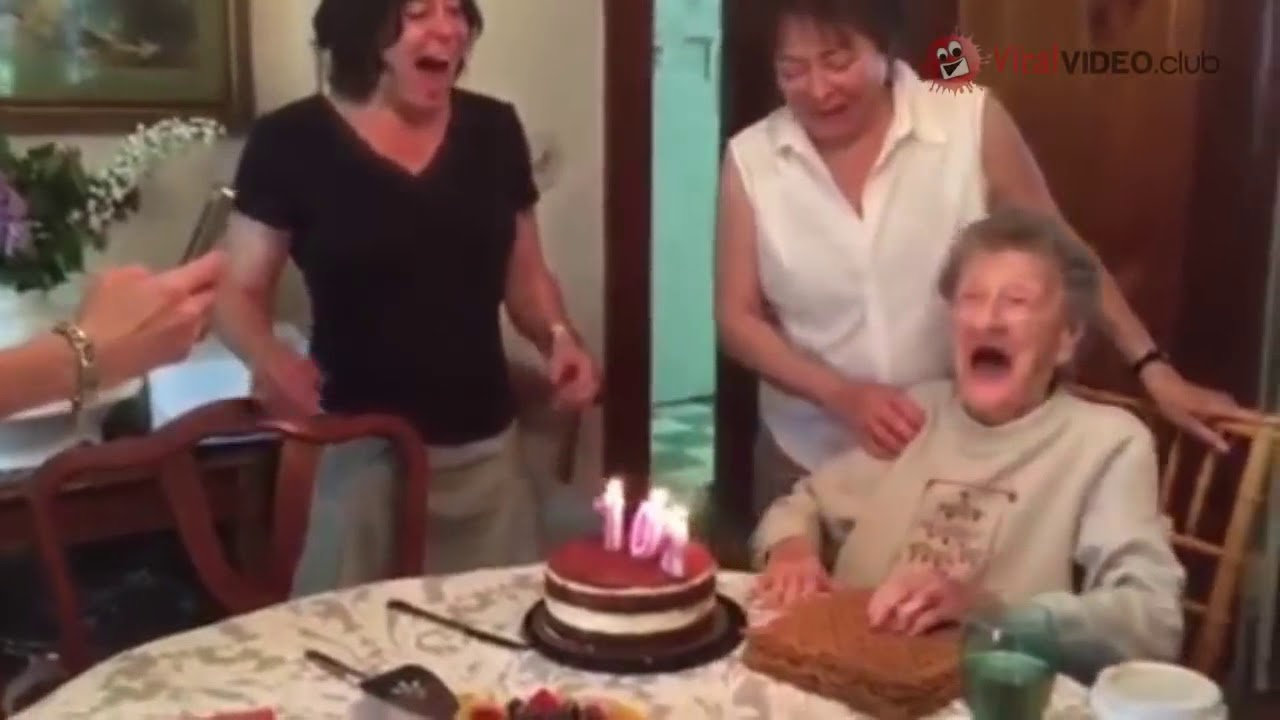 GRANDMA THROWS HER TEETH WHEN BLOW OUT THE CANDLES OF HIS BIRTHDAY