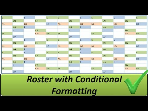Excel Roster With Conditional Formatting Shifts In