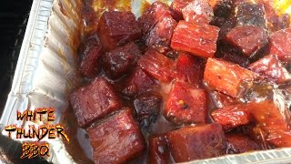 Pastrami burnt ends - montreal smoked meat burnt ends on the mini wsm - 081080 bbq sauce