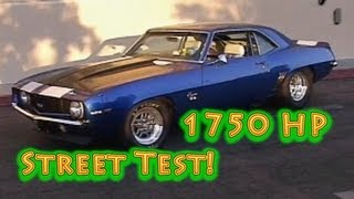 1750 HP 1969 Camaro.  Alien Intake TT 427 SBC Street Test from Nelson Racing Engines.