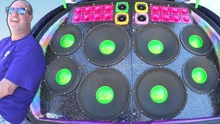 THIS GUY WENT ALL OUT!!! Insane Car Audio Systems & LOUD Subwoofer BASS Demos @ SLAMOLOGY 2017