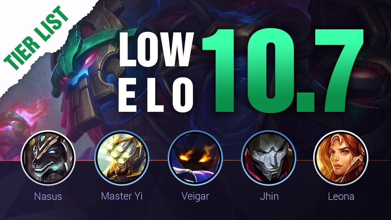 Low Elo Lol Tier List Patch 10 7 By Mobalytics League Of Legends Season 10 Youtube