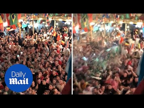Fans erupt into celebrations as England scores winning goal