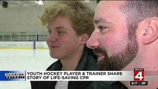 High school Hockey player collapses on ice, saved by trainer